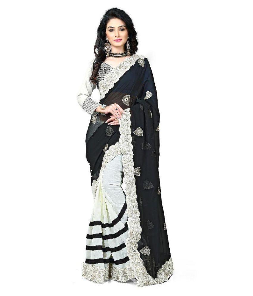 Sparkle Tradition Black Chiffon Saree