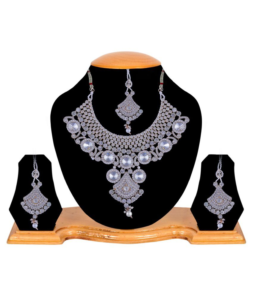 Twella Creations Copper Silver Plating Polki Studded White Coloured Necklace Set