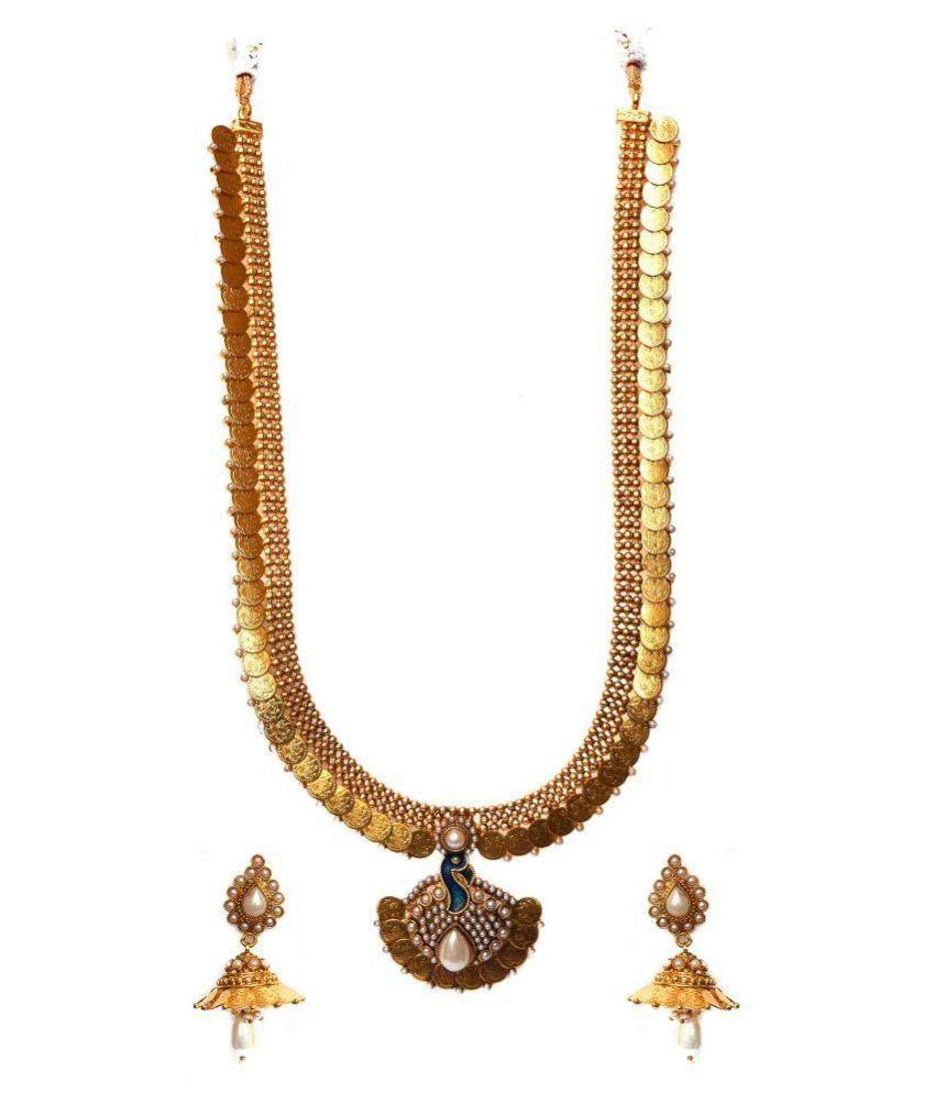 Beeline Copper Gold Plating Studded Gold Coloured Necklaces Set