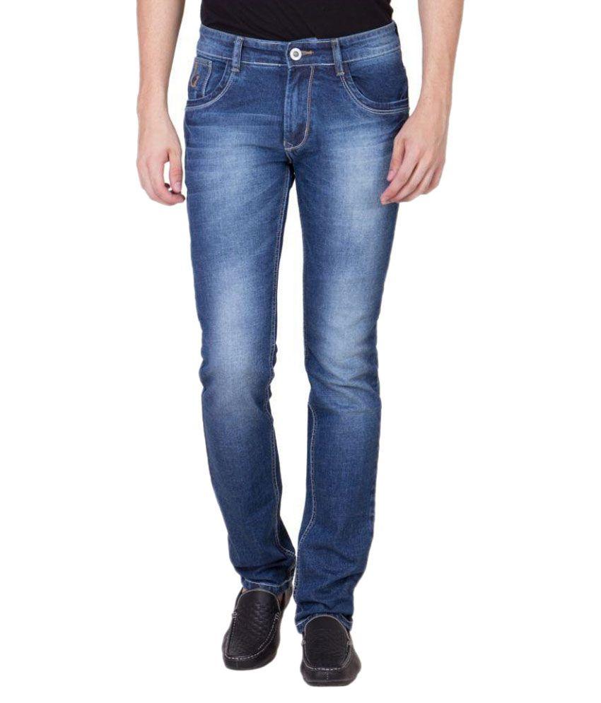 Blackcatz Blue Regular Fit Faded Jeans
