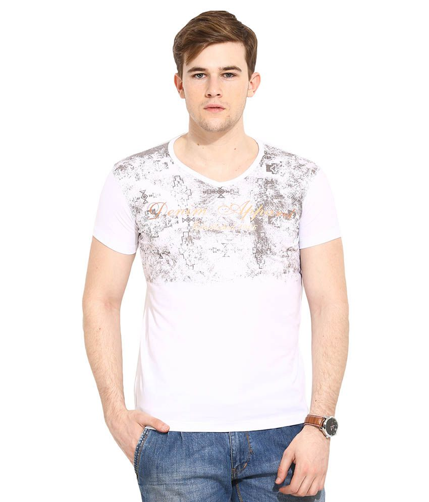 Duke White V-Neck T Shirt