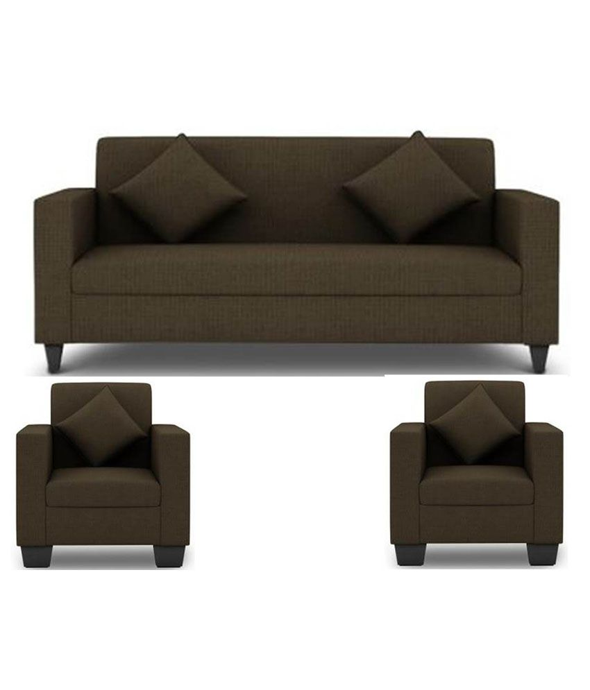 Westido 5 Seater Sofa Set In Brown Upholstery With Cushions Buy Westido 5 Seater Sofa Set In