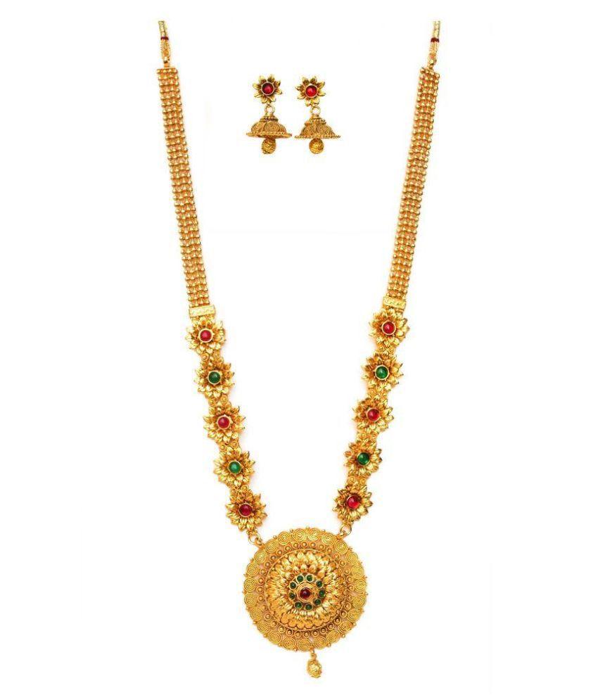 Beeline Copper Gold Plating Crystal Studded Gold Coloured Necklaces Set