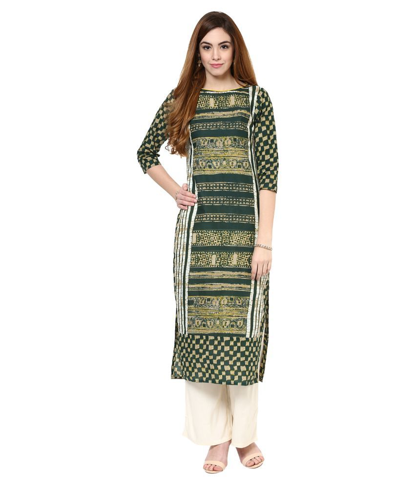 Jaipur Kurti Green Cotton Straight Fit Stitched Salwar Suit