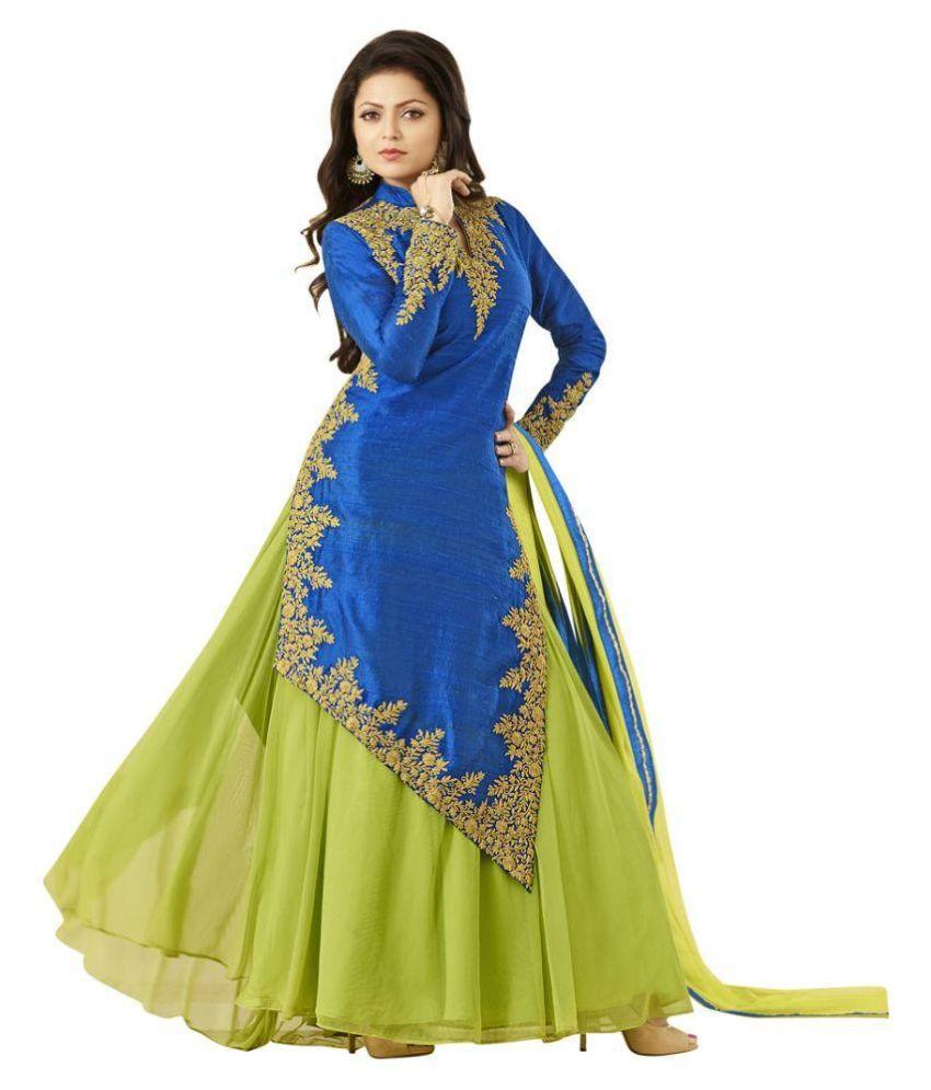 47aa4a75939db Mastani Green and Blue Bangalore Silk Pakistani Suits Semi Stitched ...