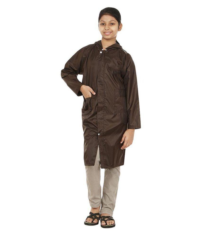 Rainfun Brown Waterproof Long Raincoat