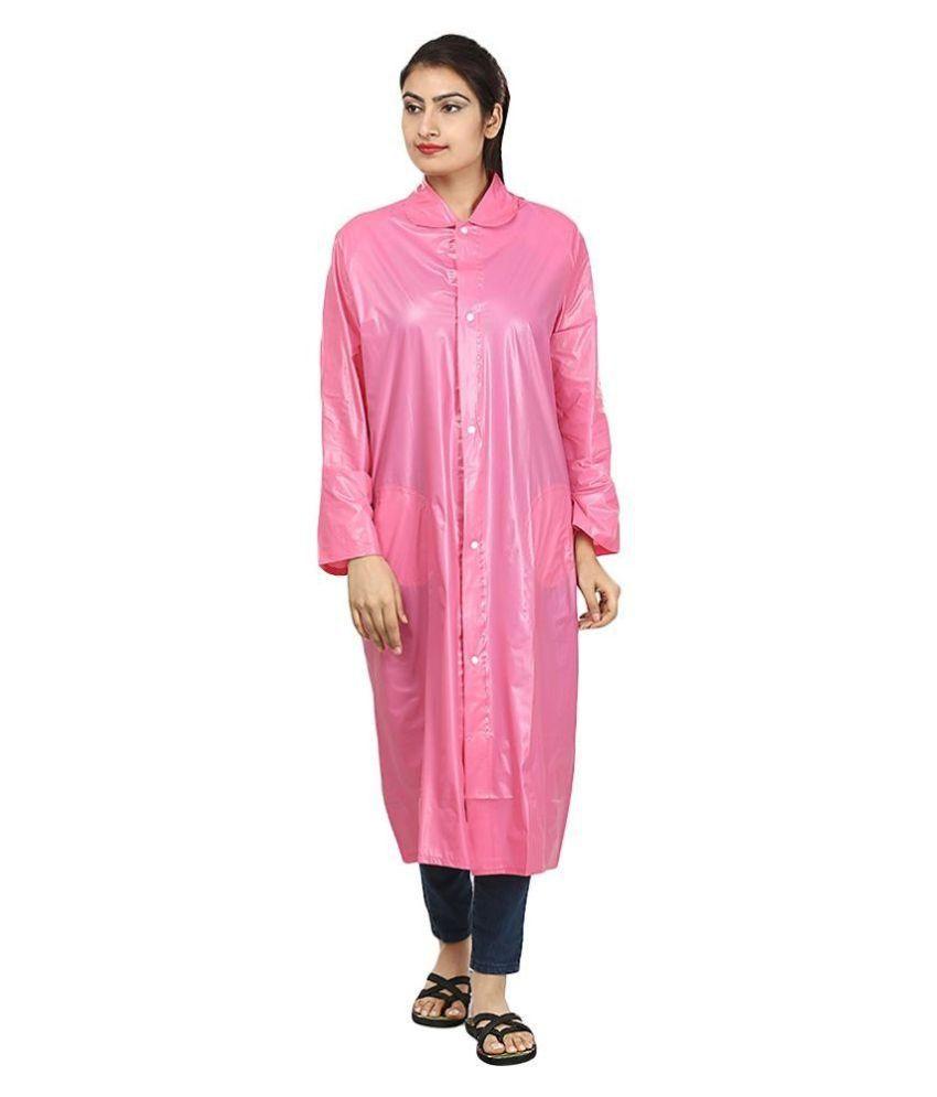 Rainfun Pink Waterproof Long Raincoat