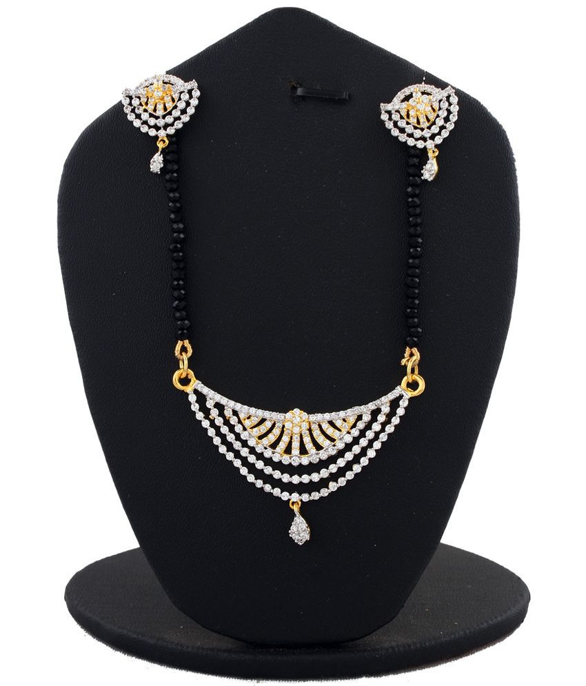 Anuradha Art White & Golden Alloy Mangalsutra Set