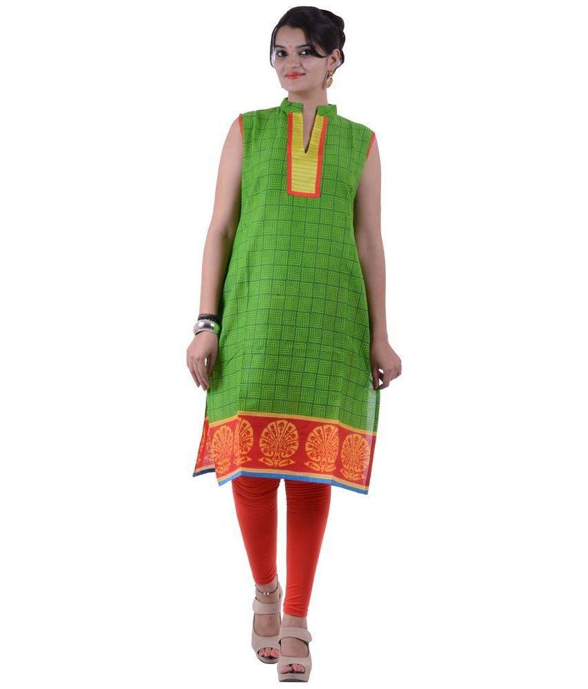 Crazezone Green Cotton Straight Kurti
