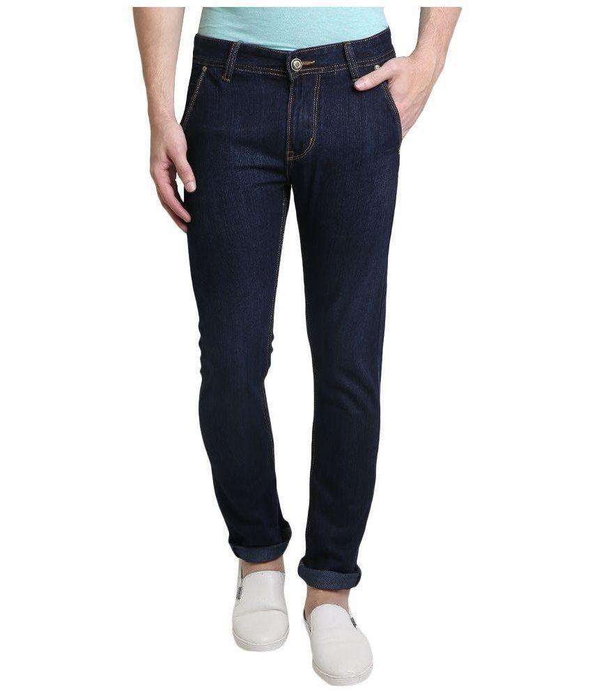 Denim Cafe Blue Slim Fit Solid Jeans