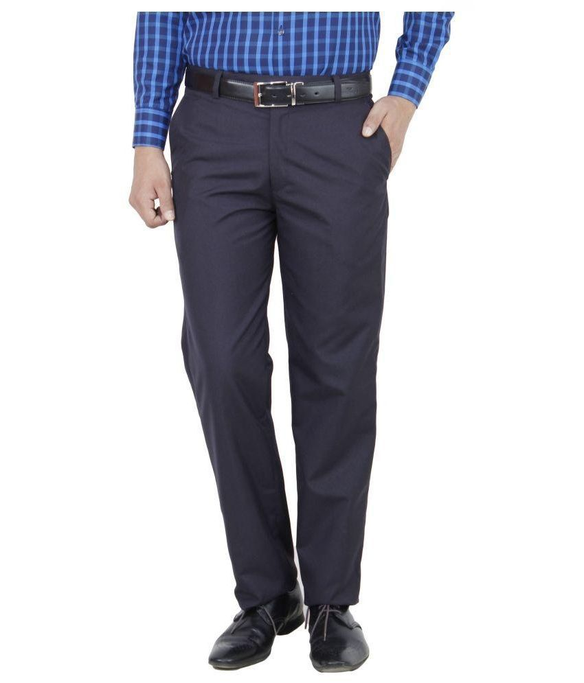Febulous Navy Regular Fit Flat Trousers