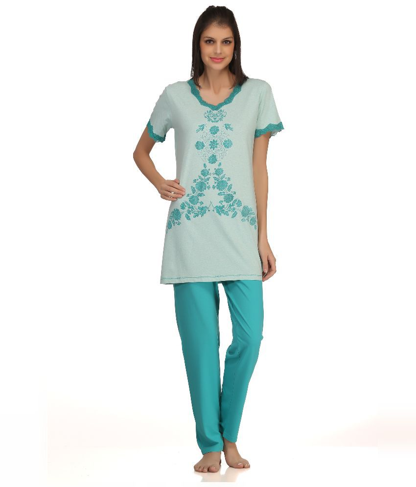 Kanvin Turquoise Cotton Nightsuit Sets