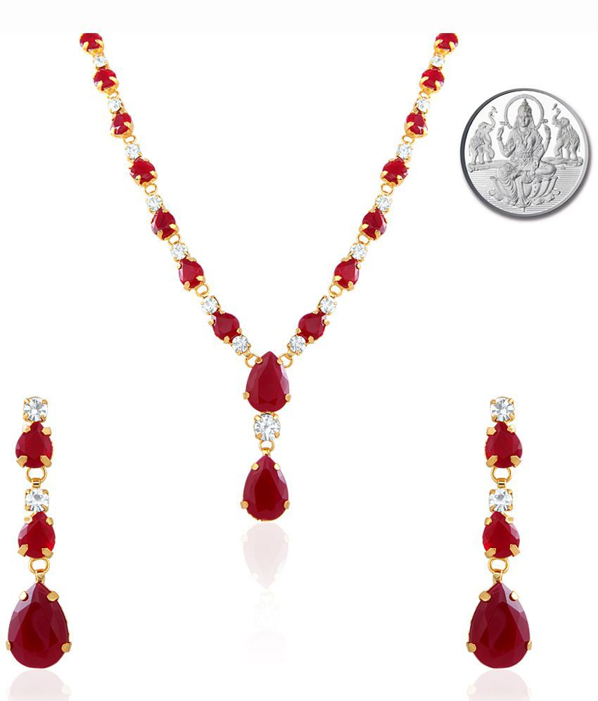 Mahi Oviya Gold Plated Red Charismatic Necklace Set With Silver Laxmi Coin