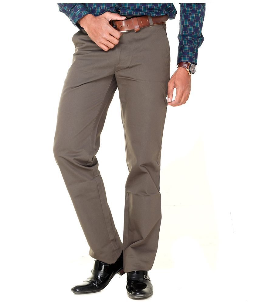 TMG Textiles and Garments Brown Regular Fit Flat Trousers