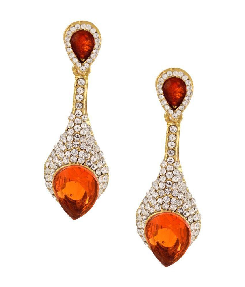 Aahaan Alloy Rhodium Plating Crystal Studded Orange Coloured Earrings
