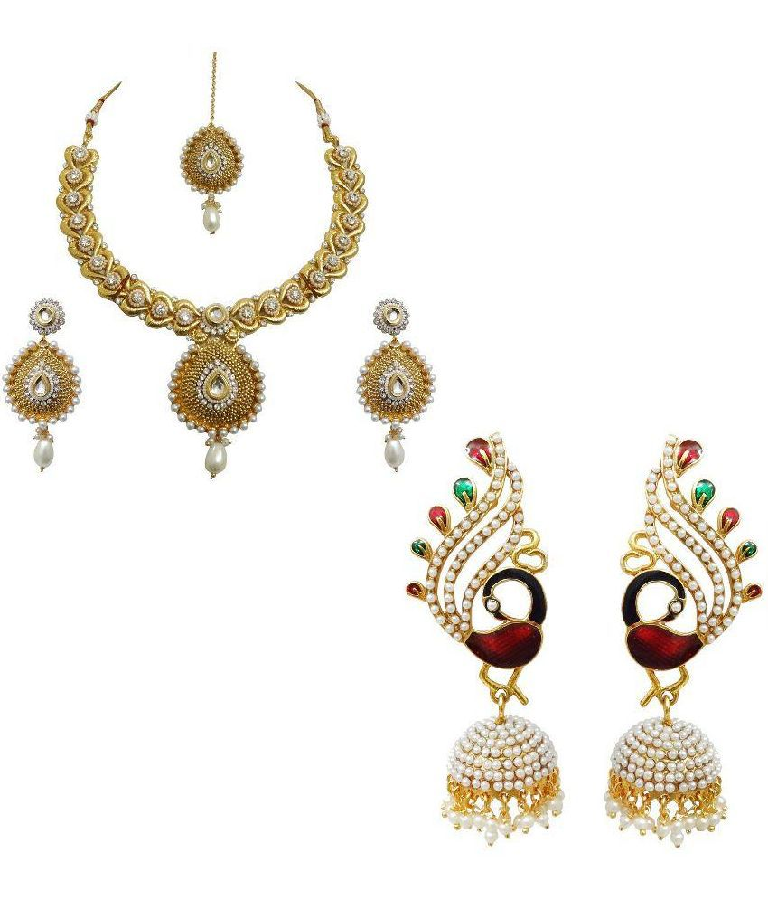 Arts Chetan Zinc Gold Plating Beads Studded Gold Coloured Necklace set Combo