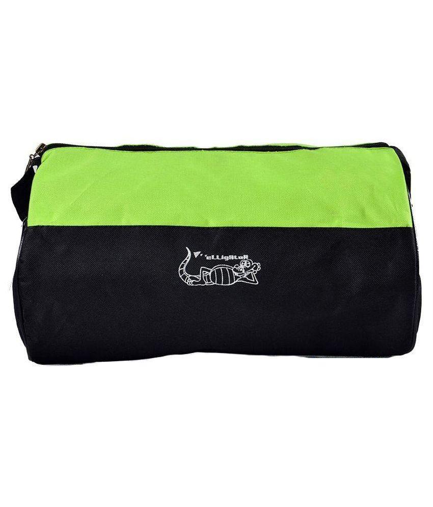 Elligator Black and Green Polyester Gym Bag