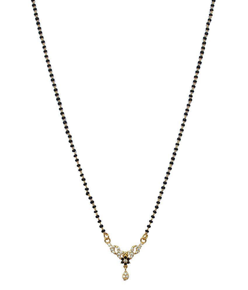 Girlz! Fashion Alloy Gold Plating American diamonds Studded Multi Coloured Mangalsutra