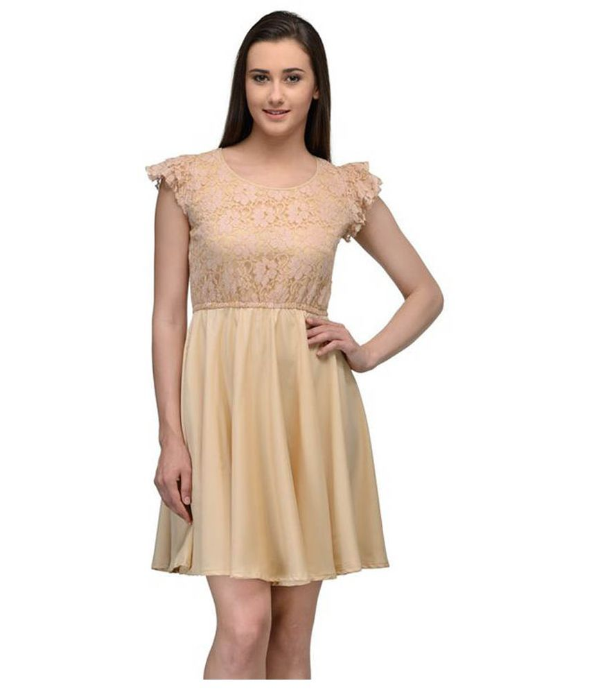 Just Wow Beige Poly Crepe A Line Dress