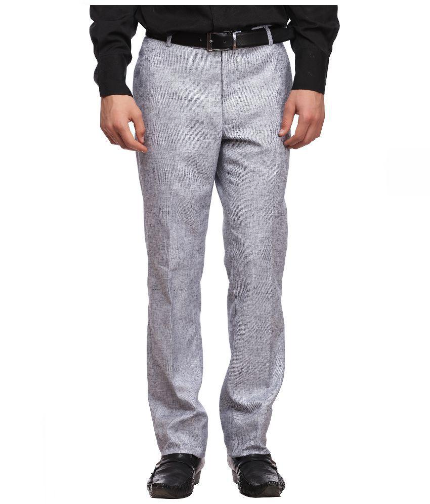 Luxurazi Grey Slim Fit Flat Trousers
