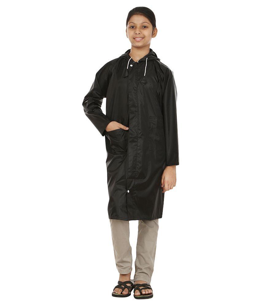 Rainfun Black Polyester Long Raincoat for Girls