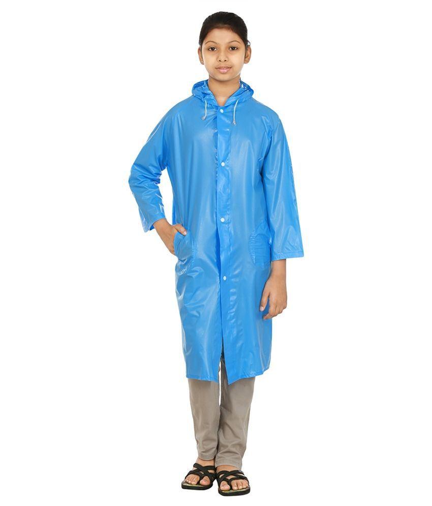 Rainfun Blue Polyester Long Raincoat for Girls