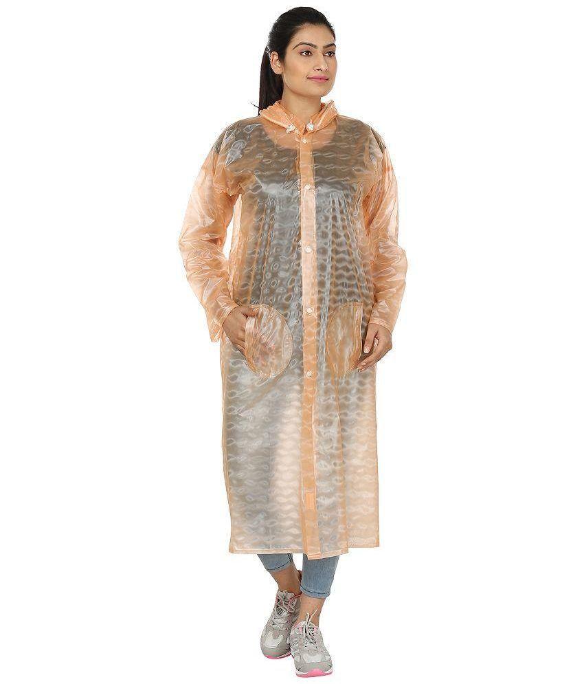 Rainfun Orange Polyester Long Raincoat
