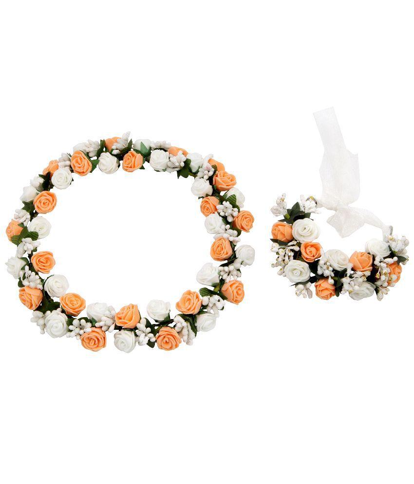 Sanjog splendid peach white flower crown and hand tiarapuff wrap sanjog splendid peach white flower crown and hand tiarapuff wrap small mightylinksfo