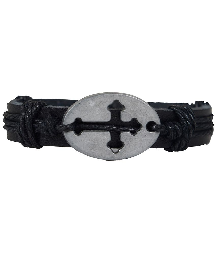 Taj Pearl Black Leather Bracelet