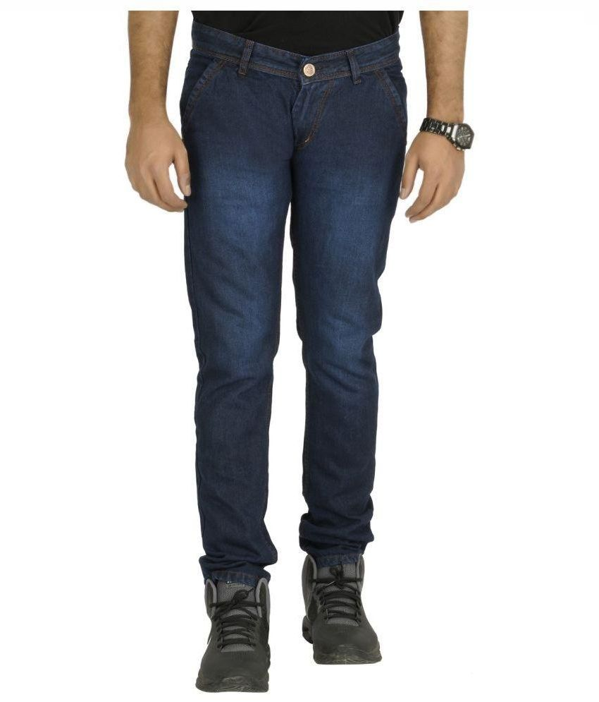 Urbano Fashion Navy Slim Fit Faded Jeans