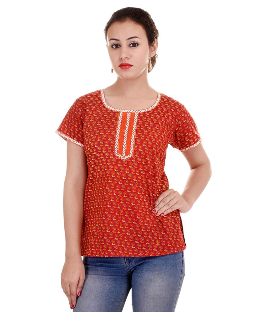 Ethnic Treat Orange Cotton Straight Kurti