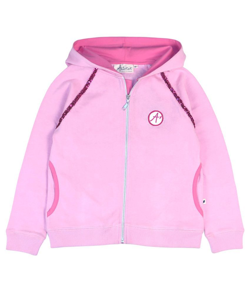 Aristo Pink Cotton Hooded Sweatshirt for Girls for kids girls