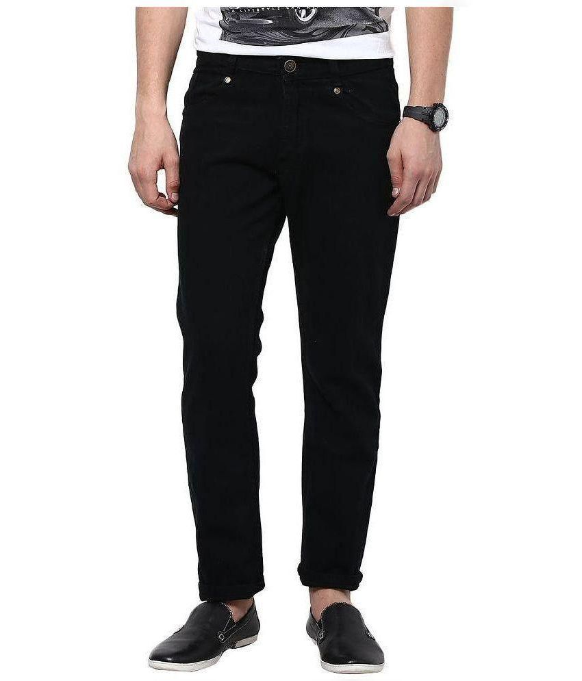 Fashion Deck Black Slim Fit Solid Jeans
