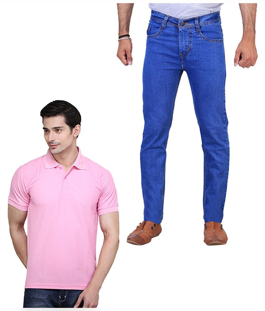 ILBIES Blue Slim Fit Solid Jeans with Polo T-Shirt