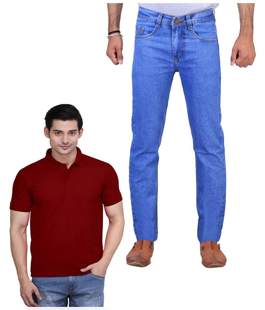 ILBIES Blue Slim Fit Solid Jeans With Cotton Blend Polo T-Shirt