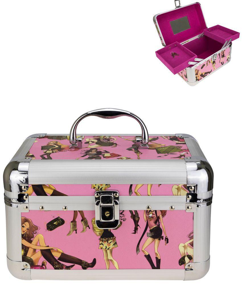 Avenue Wood Oxidised Stones Studded Pink Coloured Jewellery Box