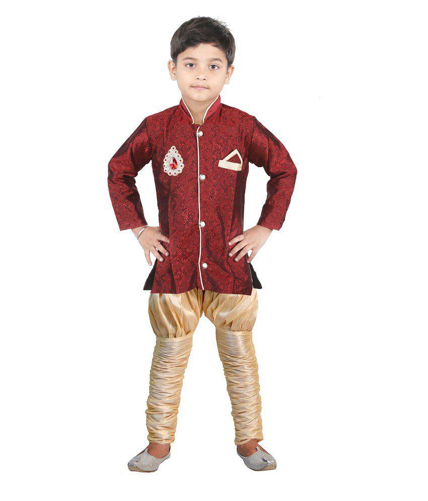 Jbn Creation Maroon & Beige Silk Indo Western Suit For Boys
