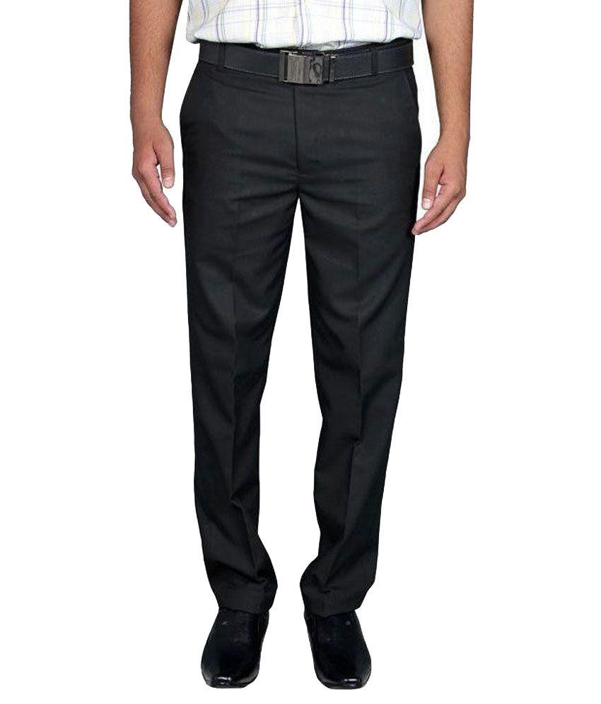 Rich Perk Black Regular Fit Pleated Trousers