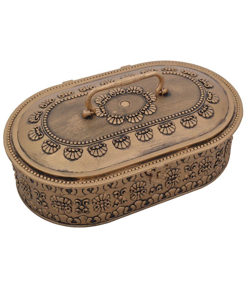 SK Plastic Oxidised Stones Studded Gold Coloured Jewellery Box