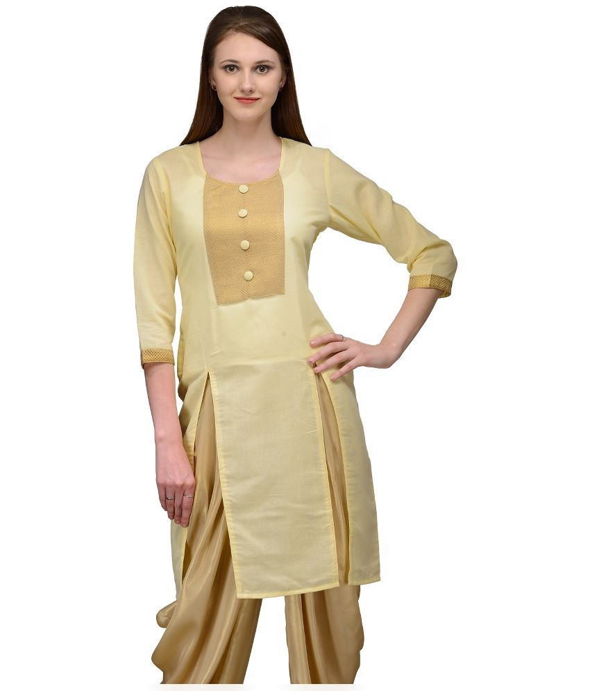 Natty India Beige Cotton Asymmetrical Hemline Kurti