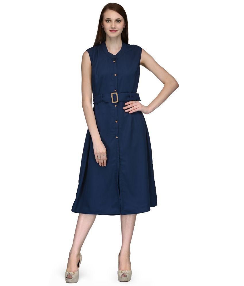 Natty India Blue Crepe A Line Dress