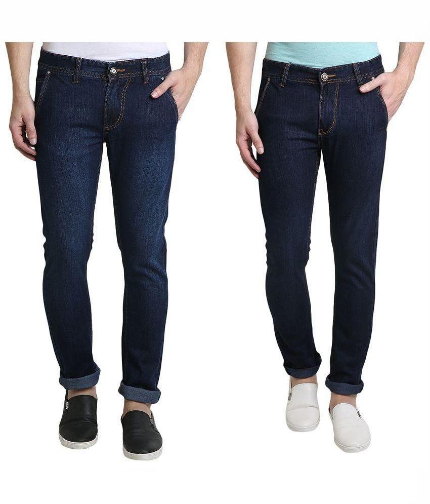 Denim Cafe Multicolor Slim Fit Solid Jeans Pack of 2