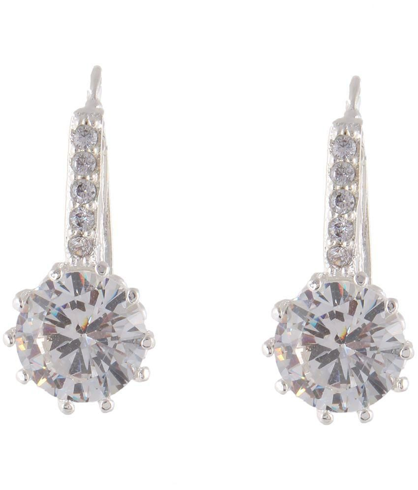 Fasherati Alloy Silver Plating Studded Silver Coloured Earrings