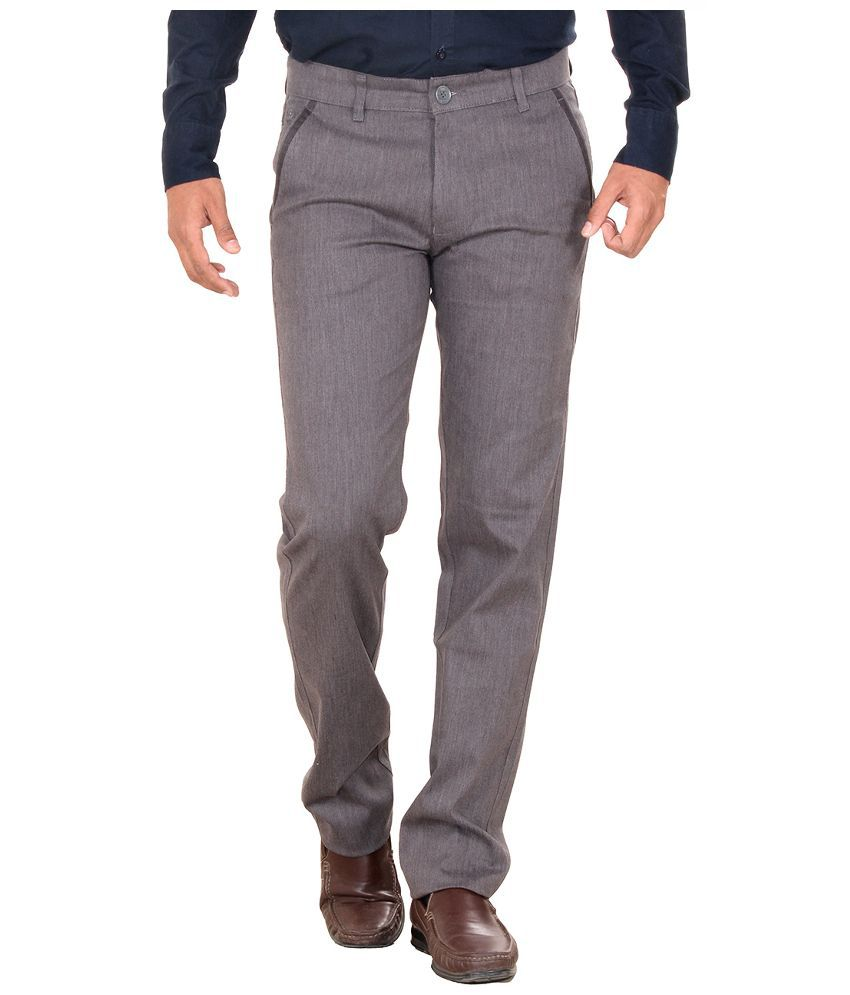 Metalica Grey Regular Fit Flat Trousers