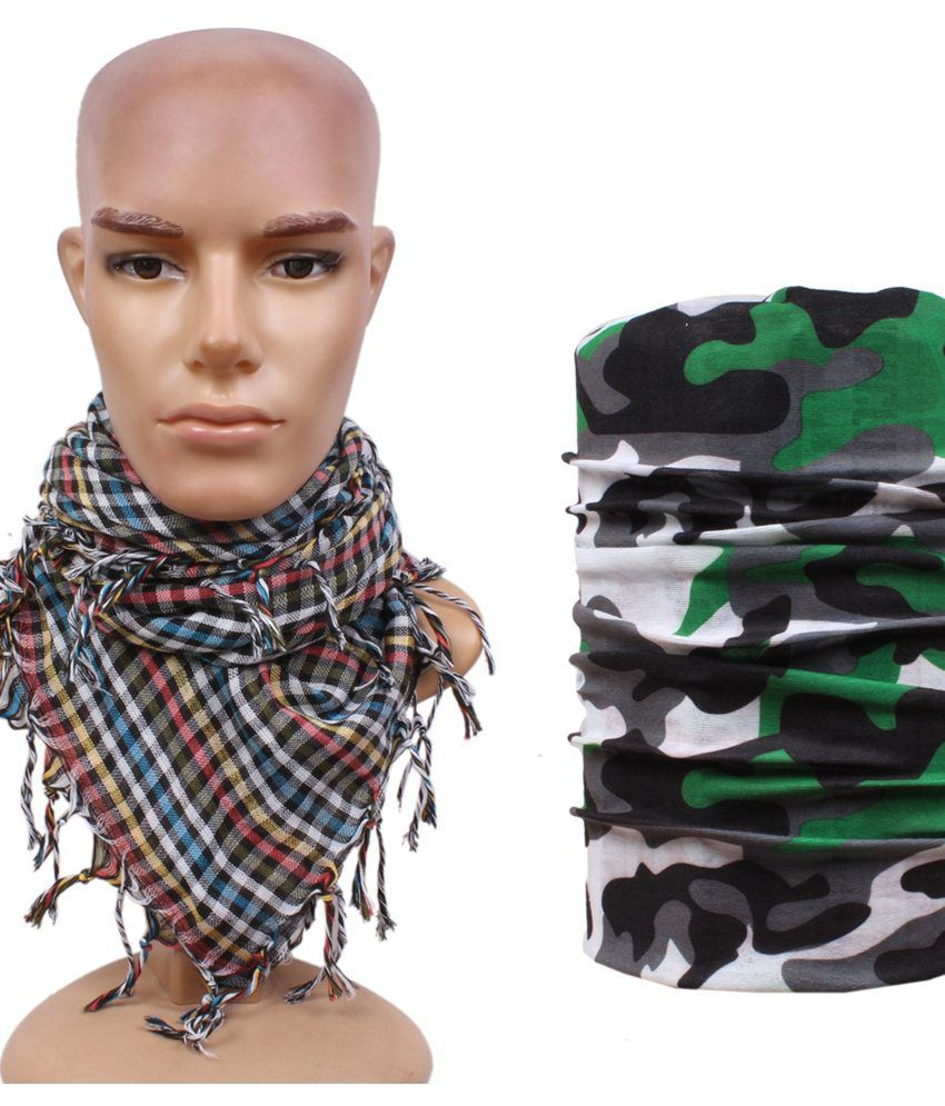 Sushito Multicolor Polyester Headwrap with Scarf for Men