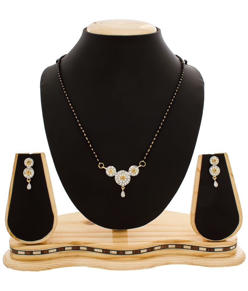 The Luxor Alloy Gold Plating American diamonds Studded Silver Coloured Mangalsutra Set