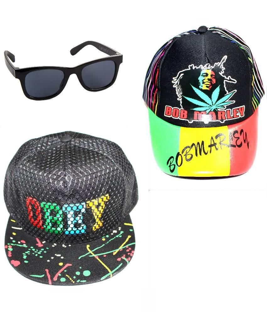 99DailyDeals Multicolor Polyester Bob Marley Cap,Obey Cap And Wayfarer Sunglasses