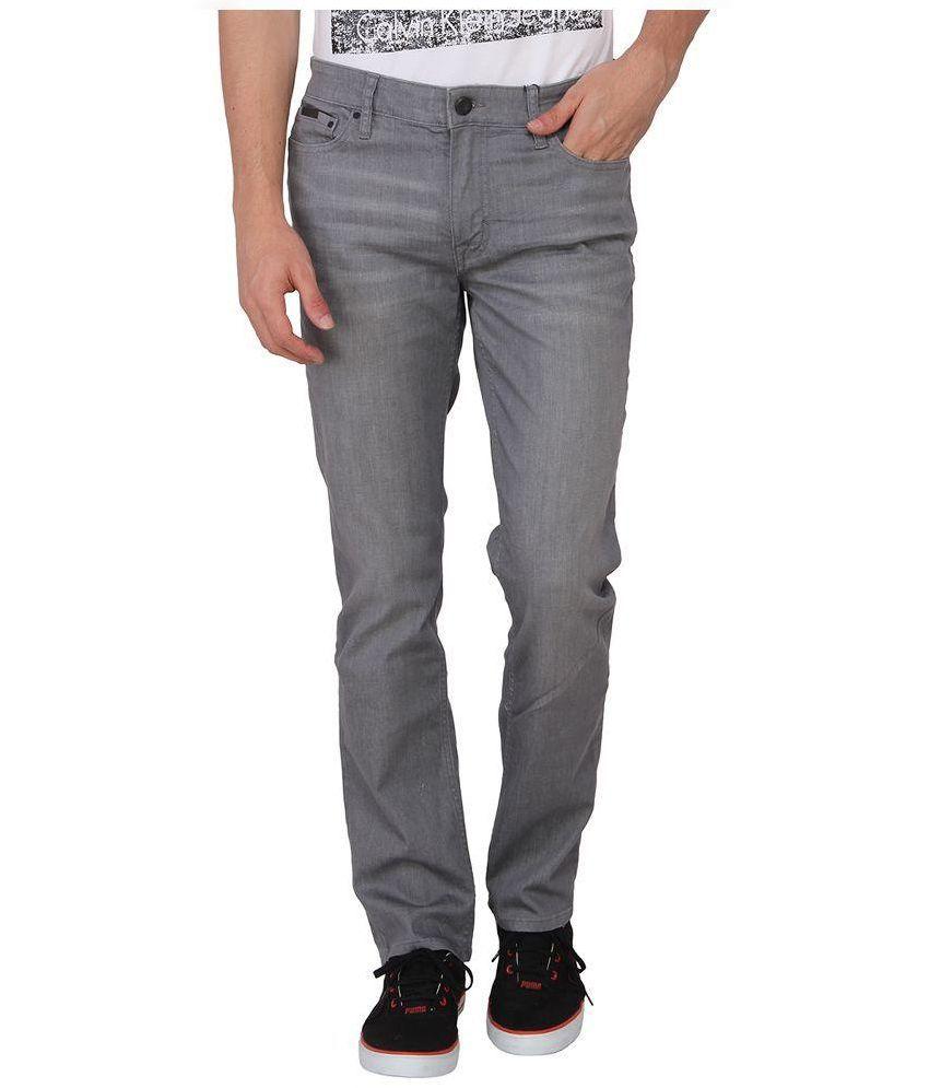 Calvin Klein Grey Skinny Fit Solid Jeans