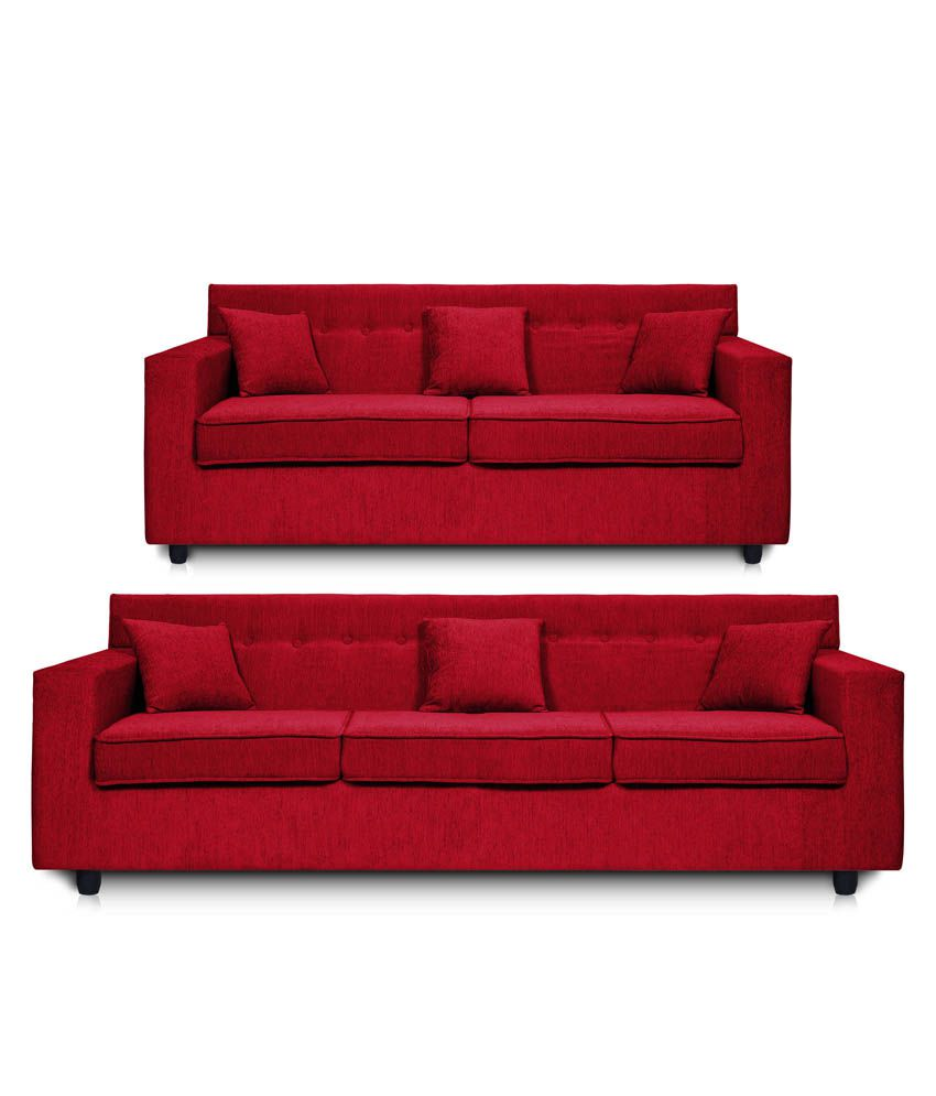 dolphin solitaire fabric 3 2 seater sofa set maroon buy dolphin rh snapdeal com