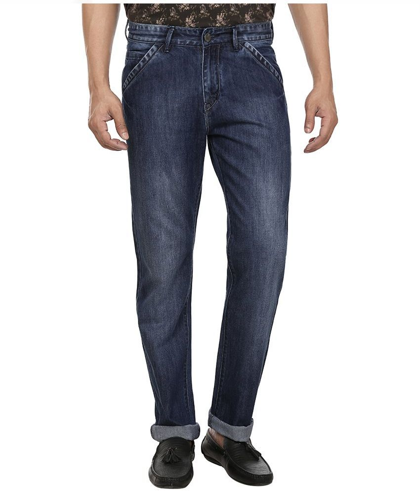 Fever Blue Regular Fit Faded Jeans